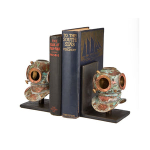 Nautical Industrial Diver Helmet Bookends - Rustic Deco Incorporated