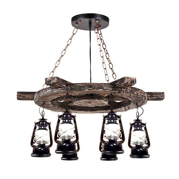Nautical Rustic Wheel with Lantern Light Chandelier Lighting Rustic Deco