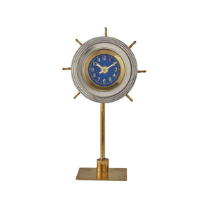Nautical Skipper Table Clock - Desk Clock - Polished Aluminum - Brass- 1930's - Rustic Deco Incorporated