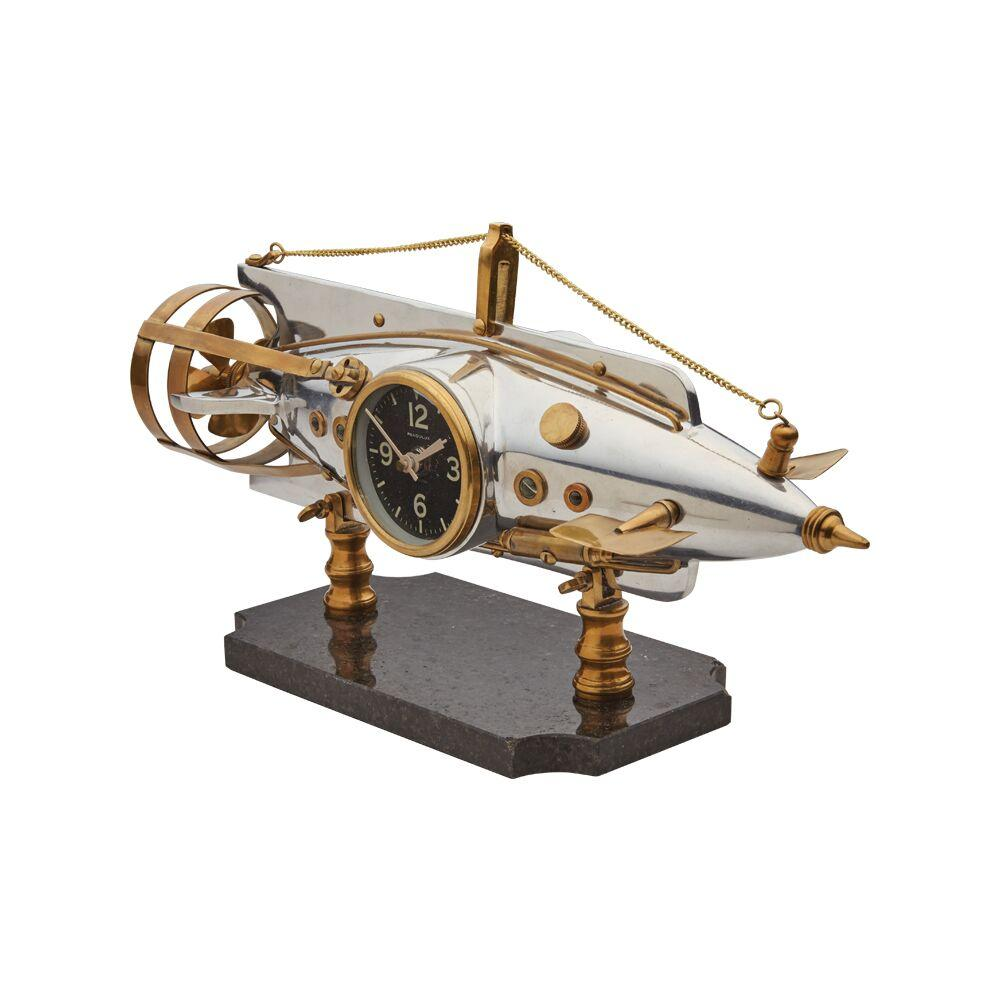 Nautilus Torpedo Table Desk Clock - Polished Aluminum Brass - French - Rustic Deco Incorporated