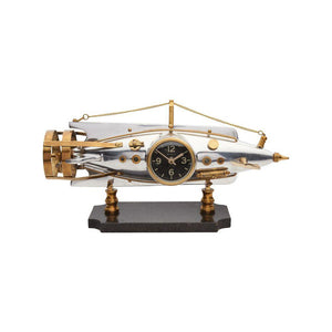 Nautilus Table Clock - Desk Clock - Polished Aluminum - Brass - 1902 French Torpedo Clock Pendulux