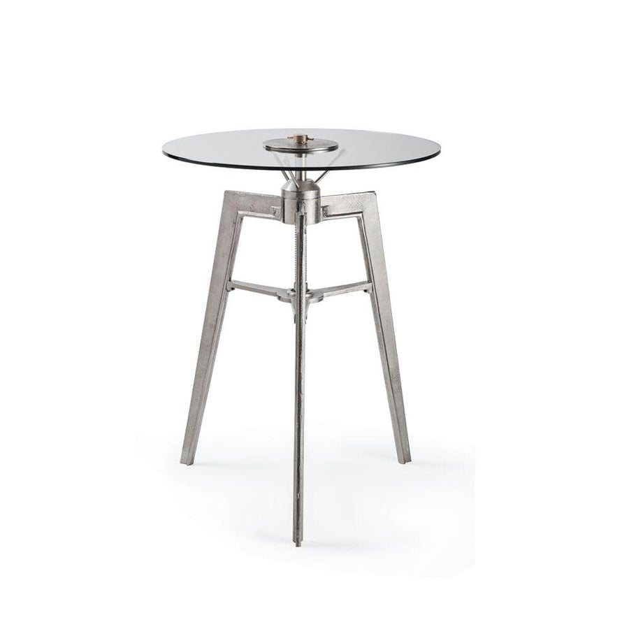 Neptune Table Large - Side Pub Table - Modern Industrial - Steel - Polished Aluminum - Brass Pub Table Pendulux