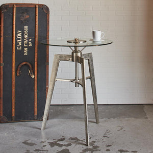 Neptune Side Pub Table - Large - Tripod Steel Legs - Nautical - Brass - Rustic Deco Incorporated