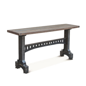 "Old Mill Industrial Console Table - Cast Iron Base - Reclaimed Wood - 66"" - Rustic Deco Incorporated"