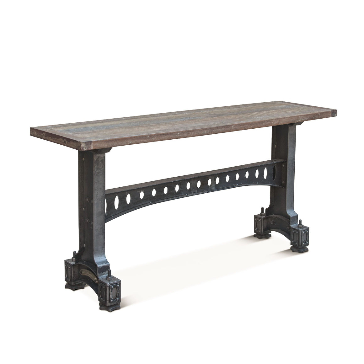 "Old Mill Industrial Console Table - Cast Iron Base - Reclaimed Wood - 66""-Rustic Deco Incorporated"