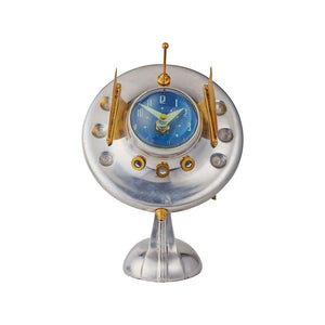 Oofo Table Clock - Chrome Desk Clock - Brass - Vintage Industrial - 1950's Atomic Age Clock Pendulux