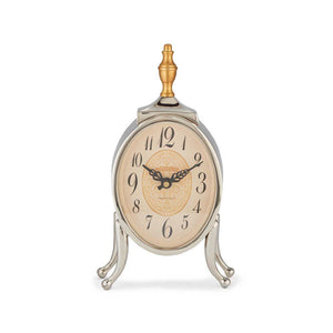 Ophelia Table Desk Mantel Clock - Polished Aluminum - Brass Finial - Rustic Deco Incorporated