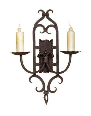 Ornate 2 Light Hand Forged Iron Wall Sconce - Handcrafted - Rustic Deco Incorporated