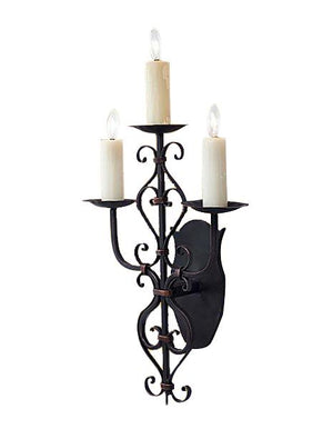 Ornate 3 Light Hand Forged Iron Wall Sconce - Handcrafted Lighting Ashore