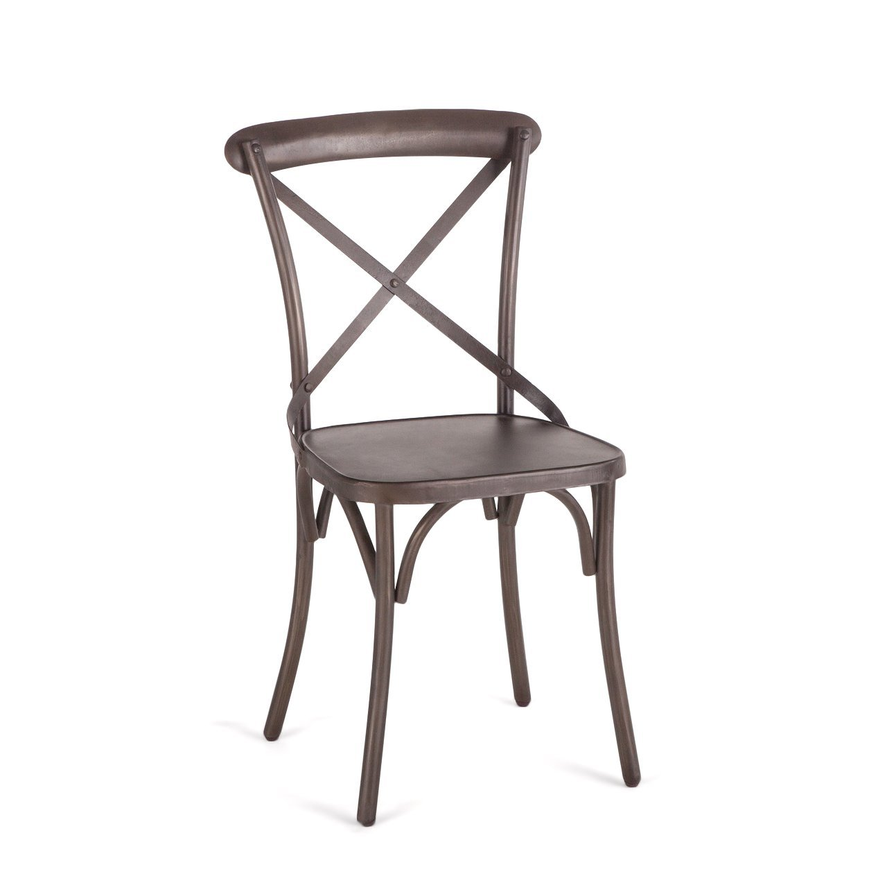 Pair Of 2 Farmhouse Metal Industrial Dining Chairs X Back Chair Rustic Deco  ...