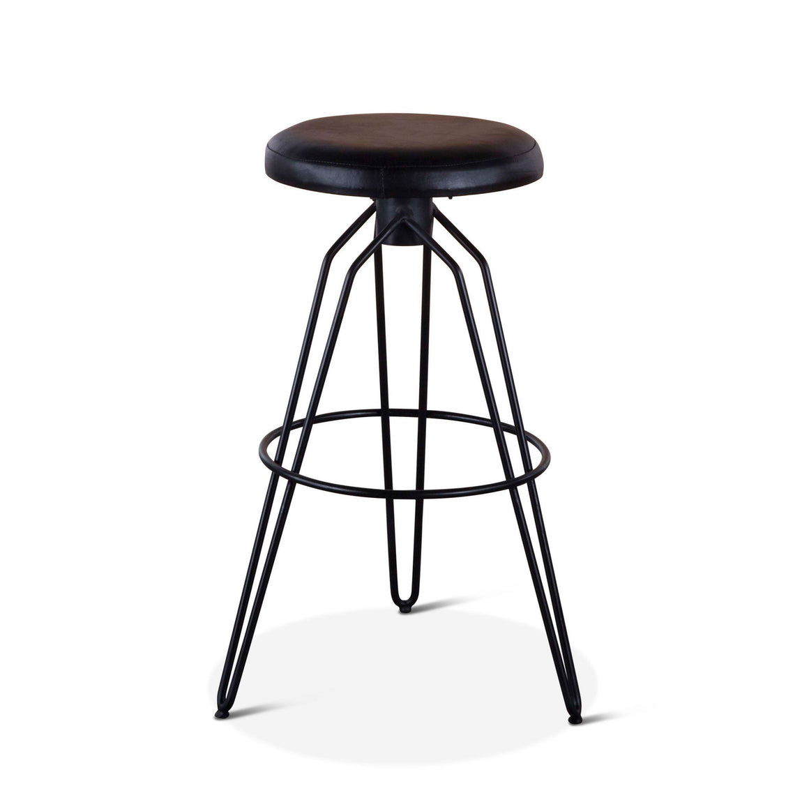 Pair of Winston Black Leather Bar Stool - Rustic Deco Incorporated