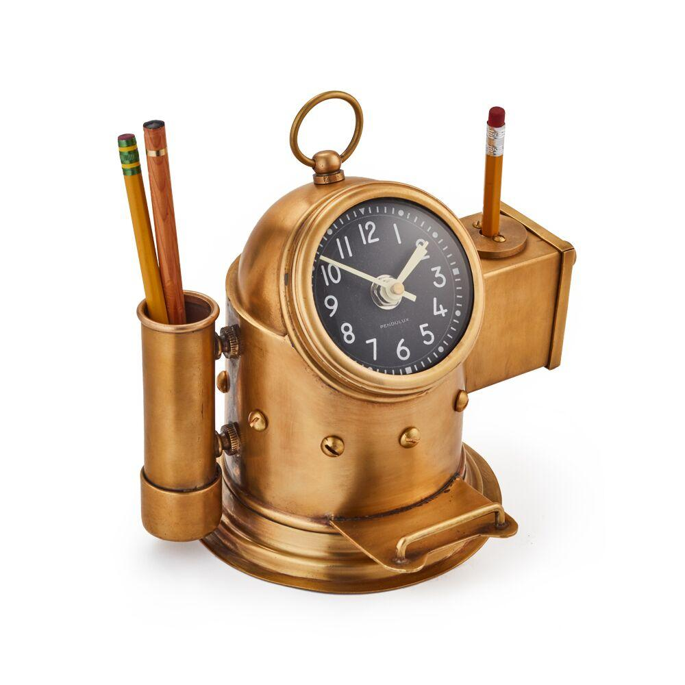 Pilot Deck Clock - Pencil Caddy - Pencil Sharpener - Brass - Nautical Other Pendulux
