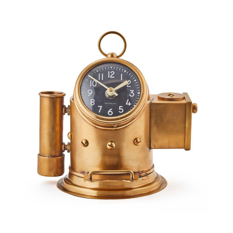 Pilot Deck Clock - Pencil Caddy - Pencil Sharpener - Brass - Nautical - Rustic Deco Incorporated