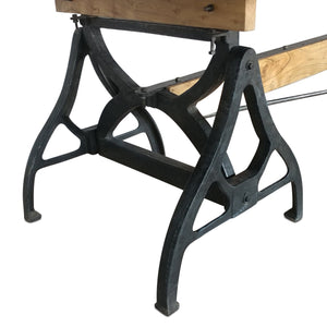 Industrial Sawhorse Conference Table - Iron Base - Wood Beam-Rustic Deco Incorporated
