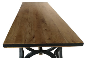 Industrial Sawhorse Dining Table - Cast Iron Base - Wood Beam - Natural - Rustic Deco Incorporated