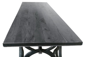 Industrial Sawhorse Dining Table - Cast Iron Base - Wood Beam – Grey-Rustic Deco Incorporated