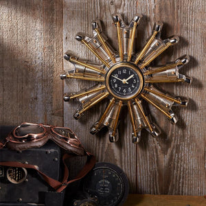 Power Plant Engine Clock - Chrome - Solid Brass - Vintage Industrial - Aviation - Rustic Deco Incorporated