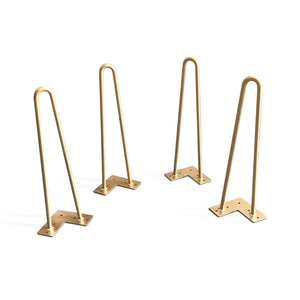 "Premium 2 Rod Hairpin Legs -  Brass 1/2"" Diameter- Set of 4 - Rustic Deco Incorporated"