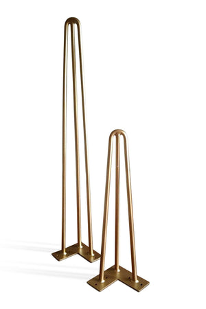 "Premium 3 Rod Hairpin Legs 1/2"" Brass 16"" and 28"" - Set of 4 DIY Rustic Deco"