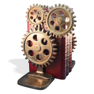 Premium Steampunk Bicycle Sprocket Bookends - Metal Cogs Gears - Pair-Rustic Deco Incorporated