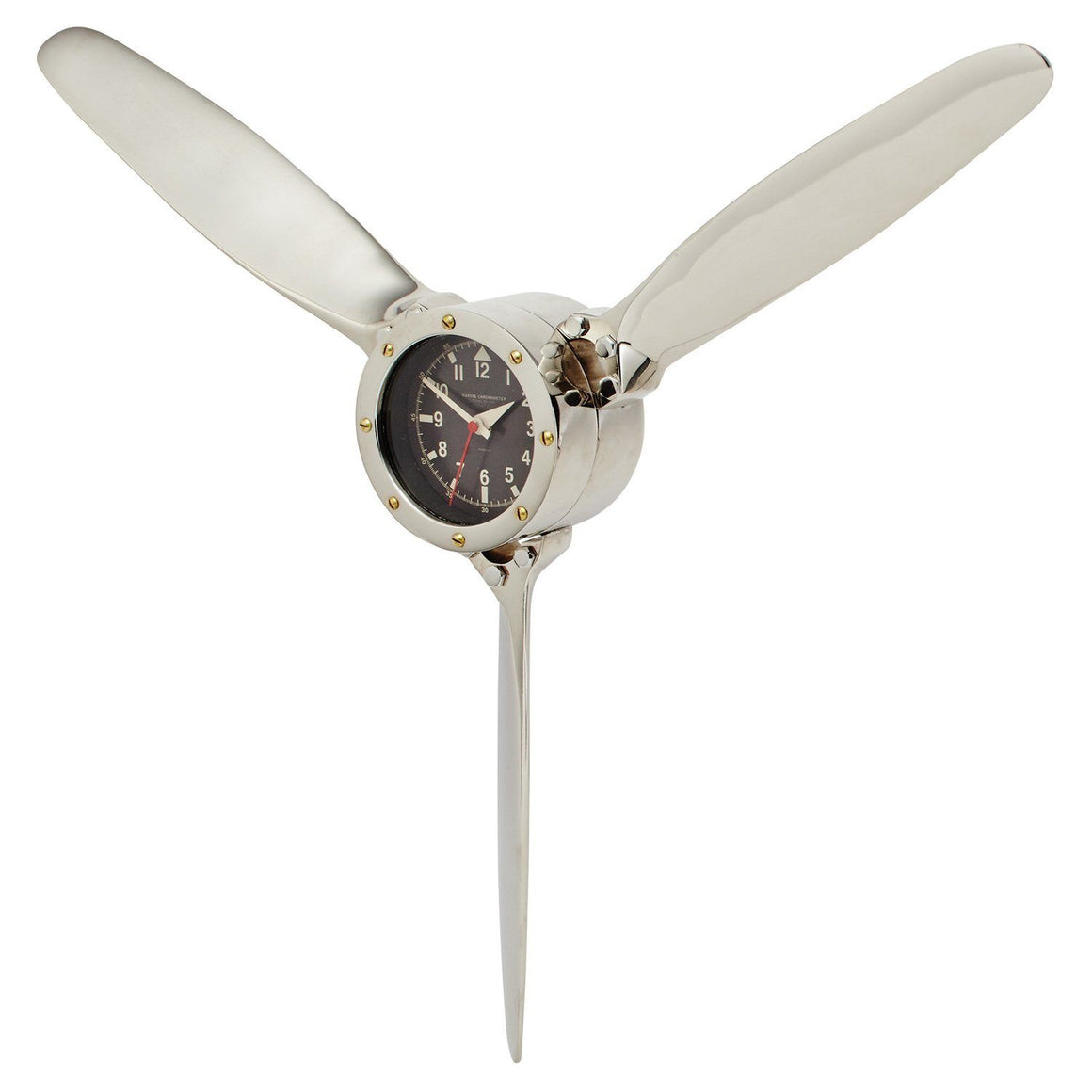 Propeller Wall Clock - Polished Aluminum - Aviator -  Machine Age - Rustic Deco Incorporated