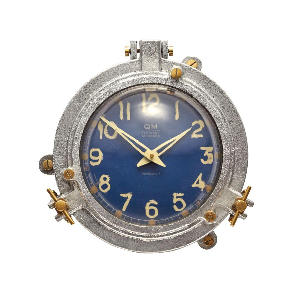 Quartermaster Wall Clock Blue - Aluminum Brass - Nautical Steamship - Rustic Deco Incorporated