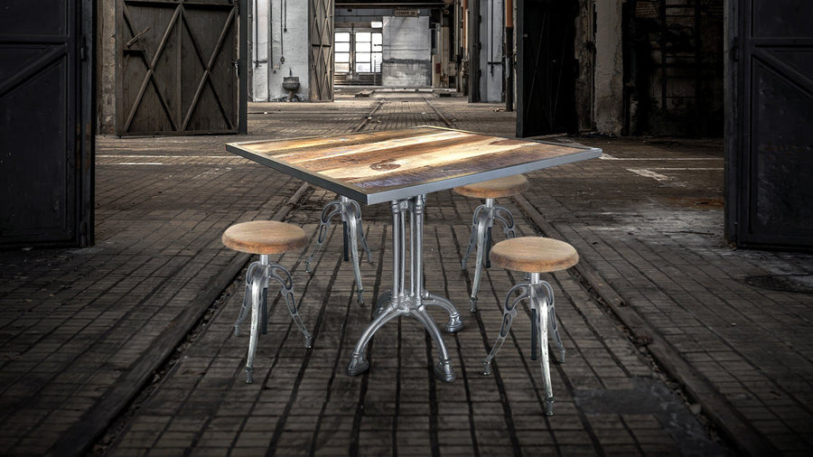 "36"" Square Retro Industrial Dining Table Silver Base Dining Table Rustic Deco"