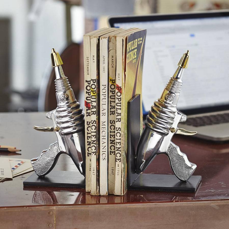 Ray Gun Bookends - Atomic Age - Aerospace - Polished Aluminum - Cast Iron - Brass Bookends Pendulux