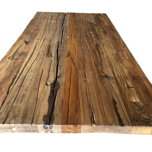 "Reclaimed Distressed Dining Table Top Natural Finish 80""-Rustic Deco Incorporated"