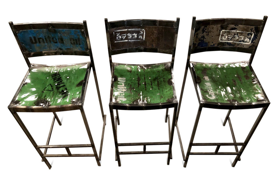 Reclaimed Steel Drum Bar Stools Bar Chairs - Re-purposed Pub - Pair-Rustic Deco Incorporated