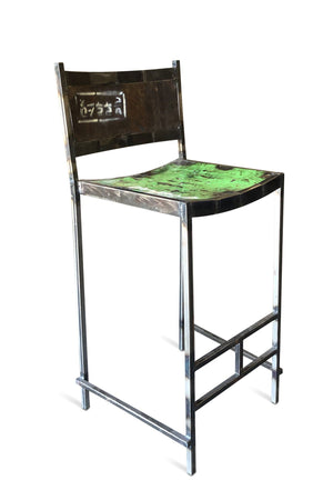 Reclaimed Steel Drum Bar Stools Bar Chairs - Re-purposed Pub - Pair - Rustic Deco Incorporated