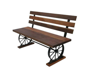 Recycled Wagon Wheel Bench Reclaimed Wood - Iron Base Bench Rustic Deco
