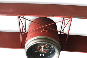 Red Airplane Wall Clock - Rustic Deco Incorporated