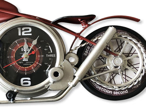 Red Motorcycle Wall Clock-Rustic Deco Incorporated