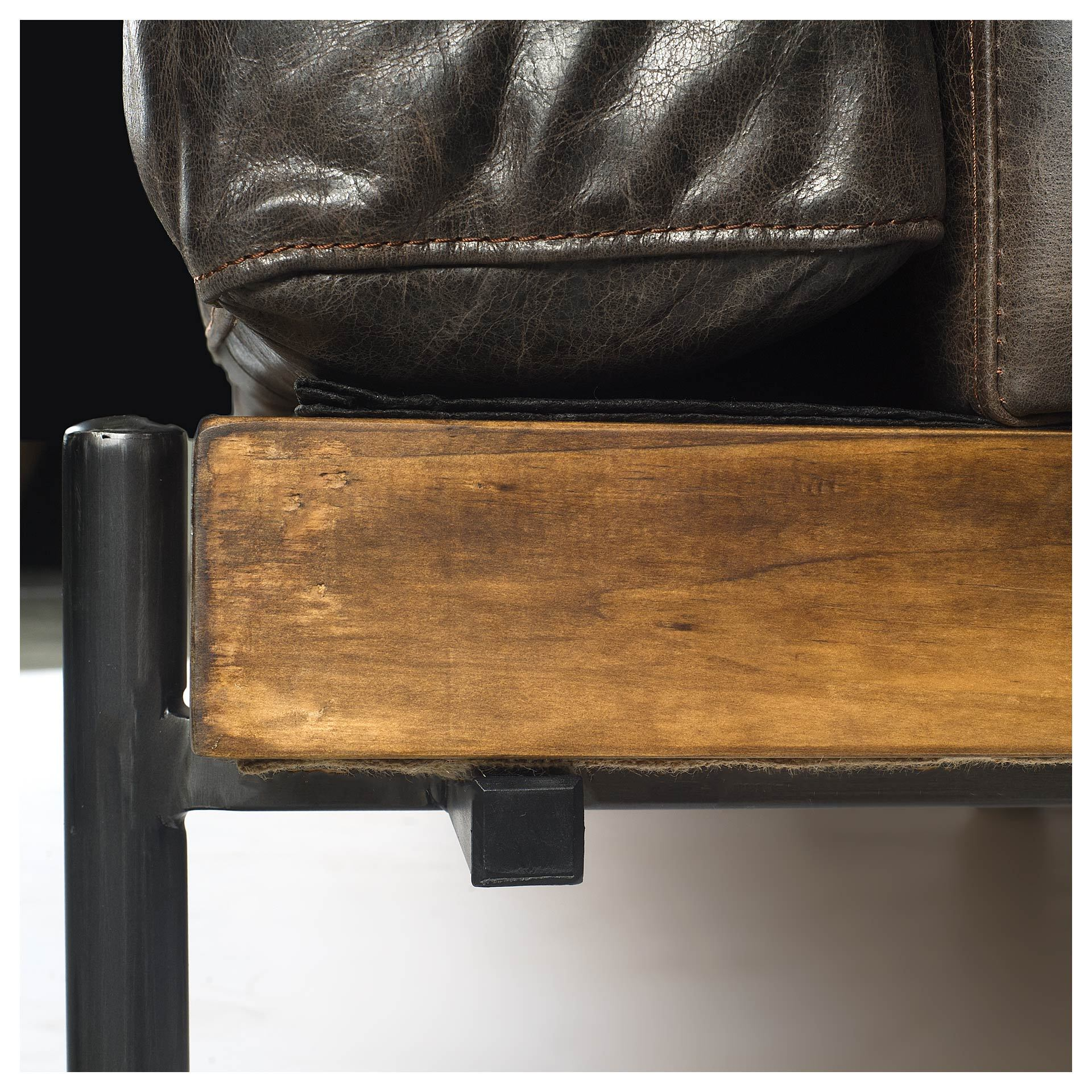 Phenomenal Retro Mid Century Modern Brown Leather Sofa Couch Iron Pdpeps Interior Chair Design Pdpepsorg