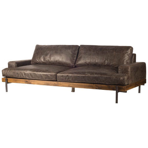 "Retro Mid Century Modern Brown Leather Sofa - Couch - Iron - Solid Hardwood 95""-Rustic Deco Incorporated"