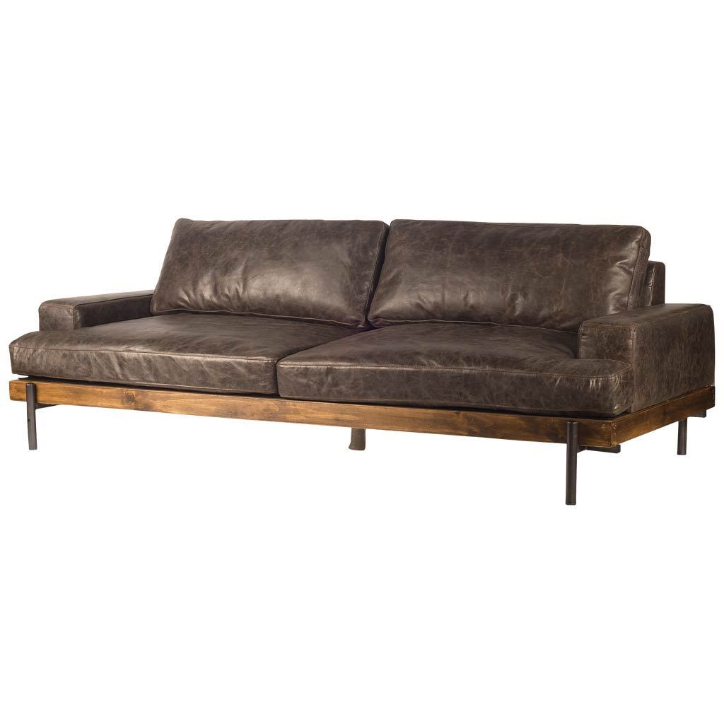 "Retro Mid Century Modern Brown Leather Sofa - Couch - Iron - Solid Hardwood 95"" - Rustic Deco Incorporated"