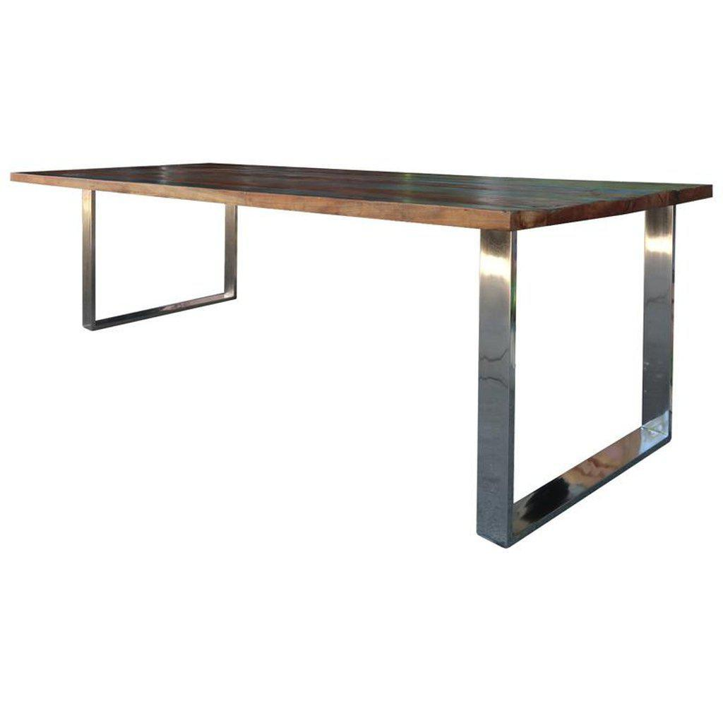 Retro Polished Nickel Dining Table Base - Modern - Base Only - Set of 2 - Rustic Deco Incorporated
