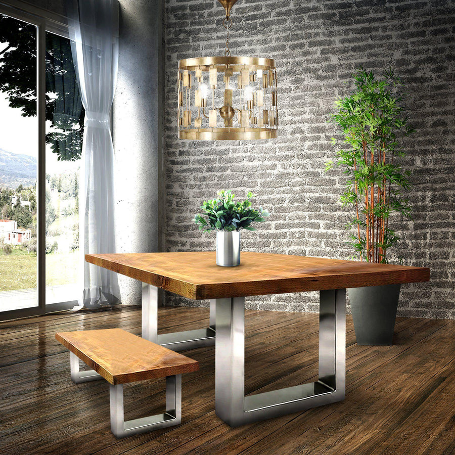 Polished Nickel Dining Table Base - Modern Chrome Desk - Square Legs - Rustic Deco Incorporated