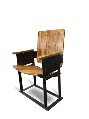 Retro Theatre Seat - Solid Wood and Cast Iron - Dining Chair - Entryway Seating Chair Rustic Deco