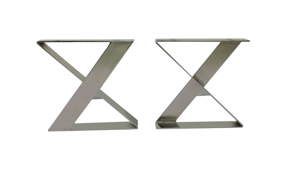 Retro Trestle Nickel X Style Coffee Table or Bench Base - Modern -Set of 2 DIY Rustic Deco