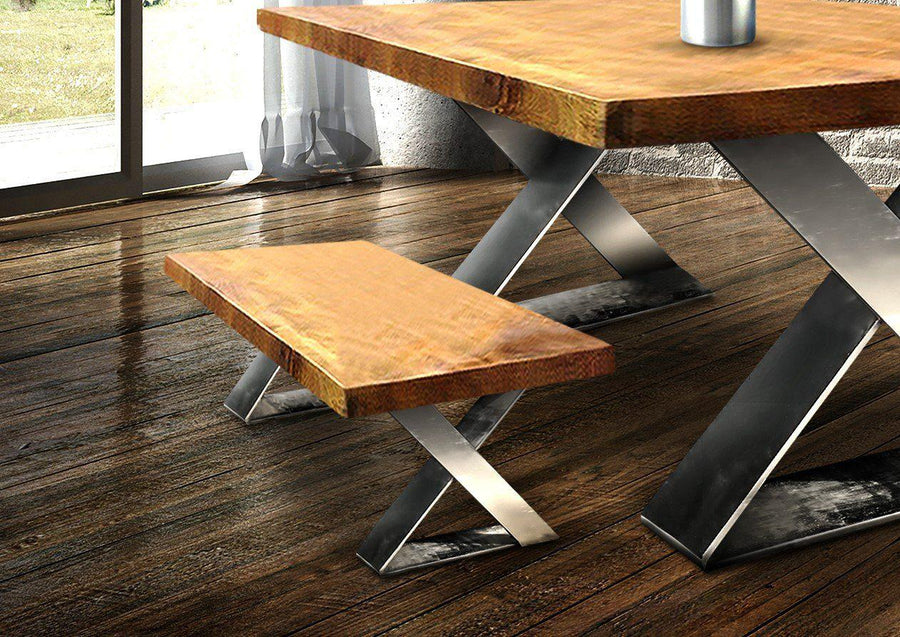 Retro Trestle Nickel X Style Coffee Table or Bench Base - Modern - Set of 2 - Rustic Deco Incorporated