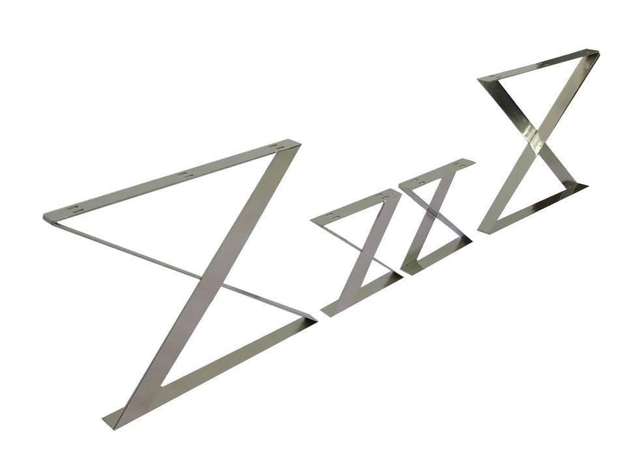 Retro Trestle Nickel X Style Dining Table Base - Modern - Polished NIckel - Set of 2 DIY Rustic Deco
