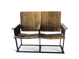 Retro Vintage Double Theater Cinema Seat - Reclaimed Wood - 2 Seats - Rustic Deco Incorporated