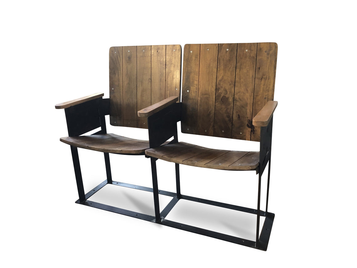 Retro Vintage Double Theater Cinema Seat - Reclaimed Wood - 2 Seats Bench Rustic Deco