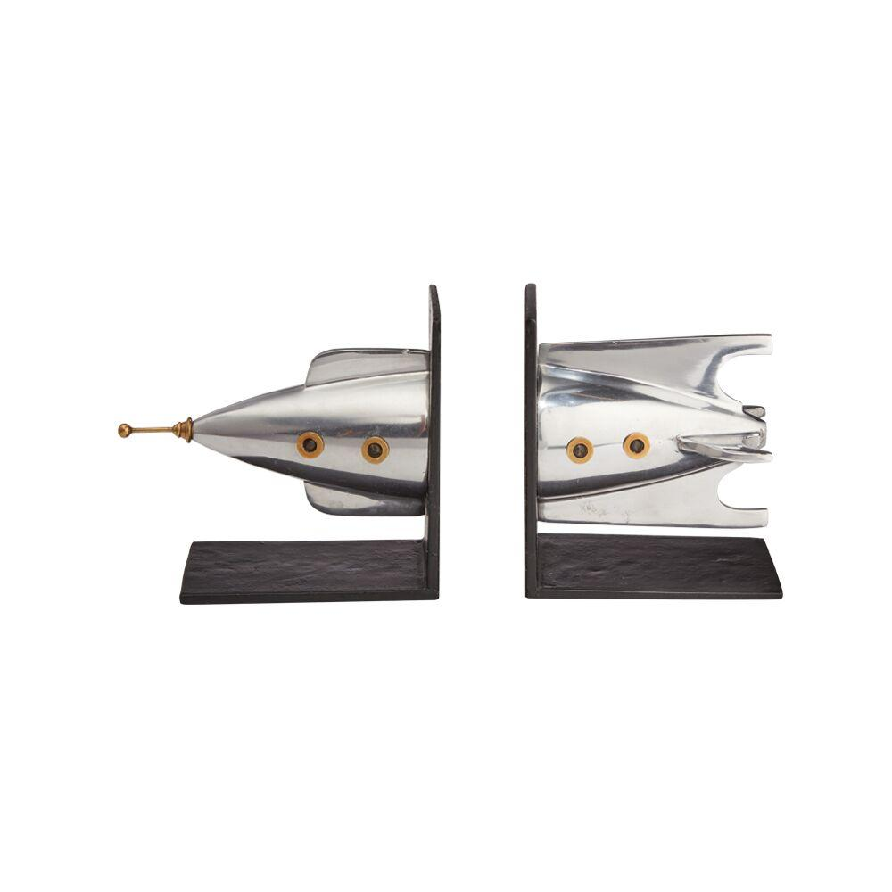 Rocket Bookends - Polished Aluminum - Brass - Iconic - Atomic Age - Rustic Deco Incorporated