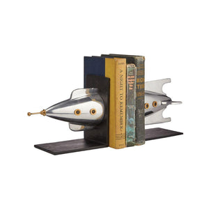 Rocket Bookends - Polished Aluminum - Brass - Iconic - Atomic Age-Rustic Deco Incorporated