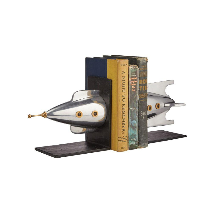 Rocket Bookends - Polished Aluminum - Brass - Iconic - Atomic Age Bookends Pendulux