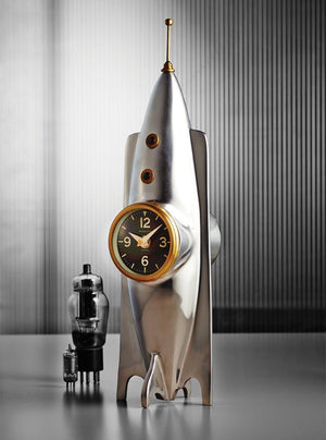 Rocket Table Clock - Desk Clock - Atomic Age - Polished Aluminum - Brass - Rustic Deco Incorporated