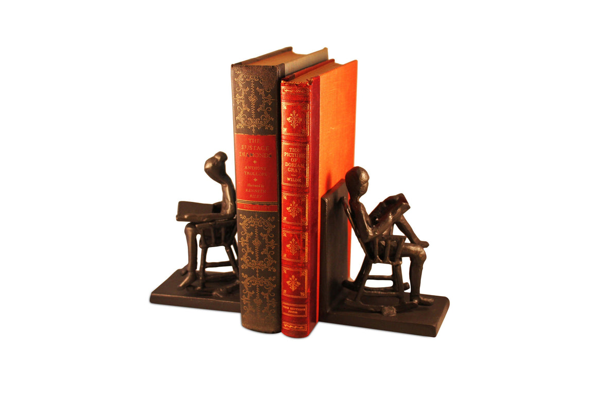 Rocking Chair Metal Bookends - Couple Reading - Abstract Figurine Bookends Rustic Deco